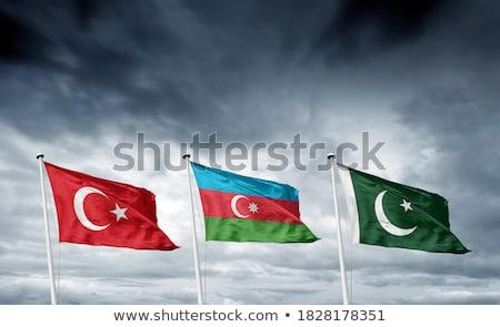 Azerbajdzsán zászló áll szalag terv tenger Stock fotó © redshinestudio
