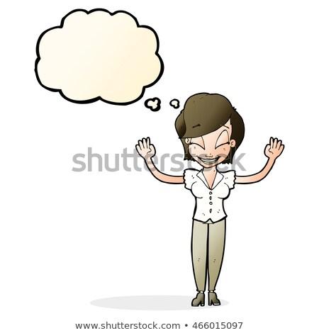 漫画 きれいな女性 手 空気 思考バブル 女性 ストックフォト © lineartestpilot