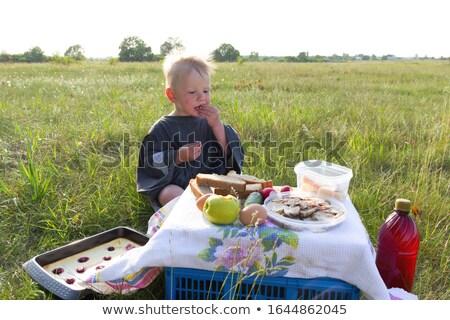 boy eating outdoors stock photo © courtyardpix