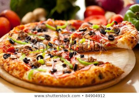 italiana · pizza · vino · rosso · formaggio · pomodori · olive - foto d'archivio © hasloo