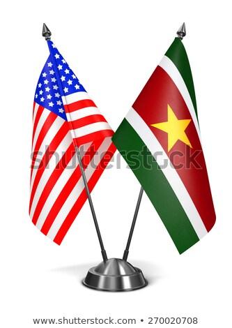 USA Surinam miniatura flagi odizolowany biały Zdjęcia stock © tashatuvango