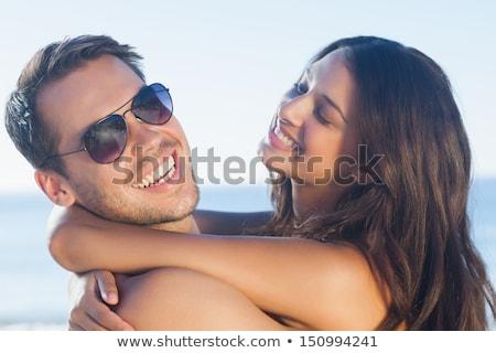 Stock fotó: Portré · jóképű · férfi · csinos · nő · fehérnemű · izolált · fehér