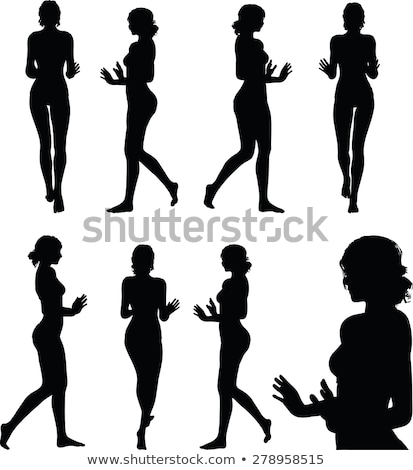 woman silhouette with hand gesture push or stop Stock photo © Istanbul2009