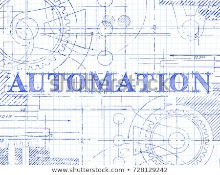 üzlet automatizálás terv fogaskerekek technikai rajz Stock fotó © tashatuvango