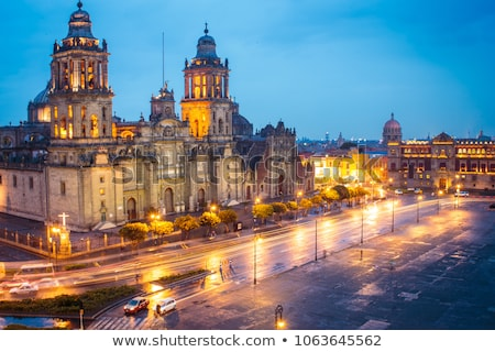 Metropolitan Cathedral Zocalo Mexico City Mexico at Night Stock photo © billperry