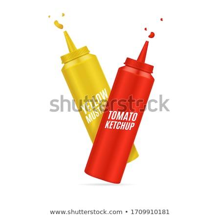 üvegek ketchup mustár izolált fehér étel Stock fotó © netkov1