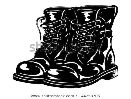 Negro ejército botas aislado blanco moda Foto stock © shutswis