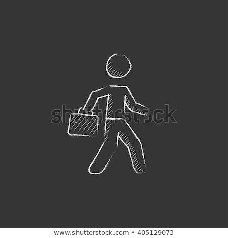 businessman walking with briefcase icon drawn in chalk stock photo © rastudio
