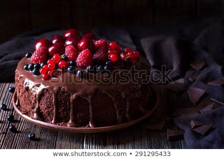 Csokoládés sütemény csokoládé cukormáz cseresznye egy szelet Stock fotó © rojoimages