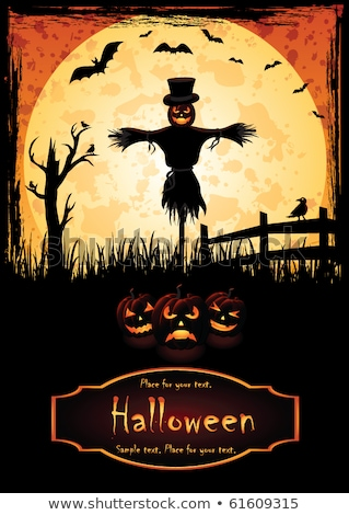 Grungy Halloween Background with Pumpkins and Scarecrow Stock photo © WaD