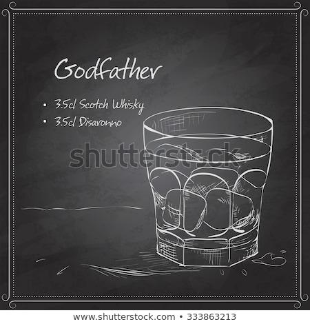 Alcoholic Cocktail Godfather on black board Stock photo © netkov1