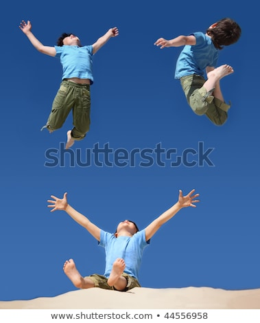 jumping boys on blue sky, sitting boy with hands and legs up on  Stock photo © Paha_L