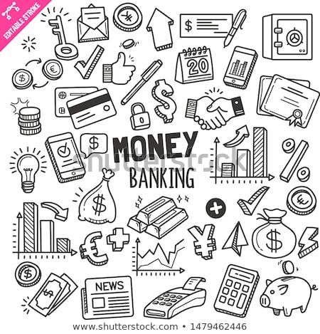 Stock fotó: Firka · pénzügy · ikonok · bankügylet · költségvetés · ikon · szett