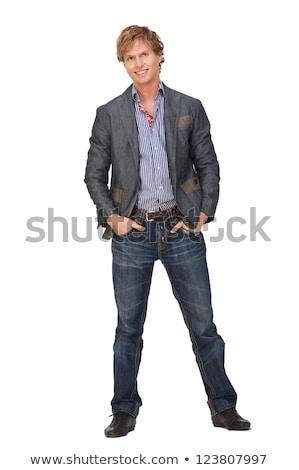 Zawartość mężczyzn kurtka możliwy sprawdzić żona Zdjęcia stock © sharpner