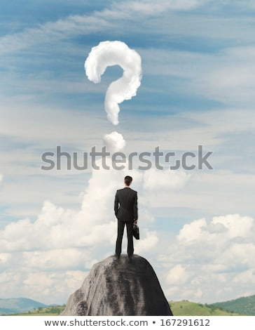 affaires · Rock · montagne · interrogation · permanent · bord - photo stock © ra2studio