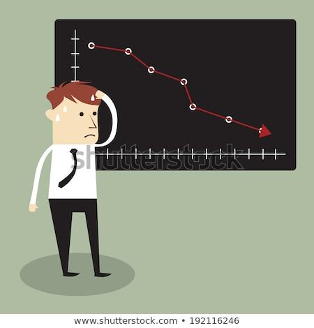 empresário · em · pé · baixo · gráfico · chateado · cabeça - foto stock © rastudio