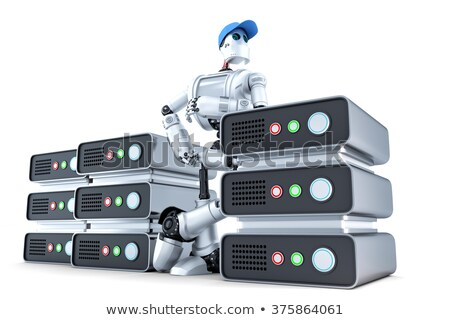 robot with a stack of servers hosting concept isolated contains clipping path stock photo © kirill_m