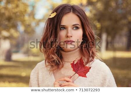Mooie brunette najaar make-up vrouw gezicht Stockfoto © konradbak