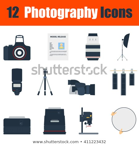 Flat design icon of photo camera 50 mm lens in ui colors Stock photo © angelp