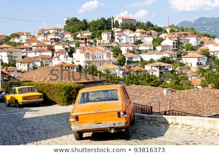 Retro Eastern Uropean car town Stock photo © vilevi
