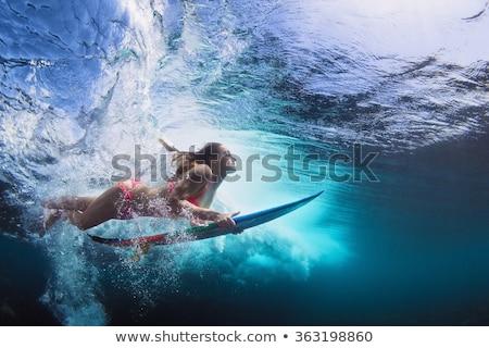 Szörfös bikini lány monokróm tengerpart sziluettek Stock fotó © coolgraphic