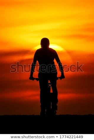 Boy on a Bike Silhouette Stock photo © 2tun