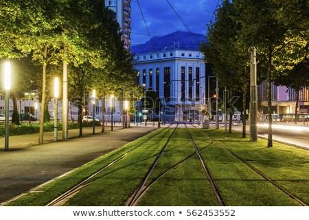 Tranvía edificio azul viaje horizonte panorama Foto stock © benkrut