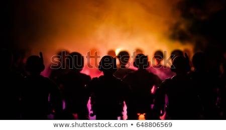 rel · politie · lijn · geld · straat · protest - stockfoto © kakigori