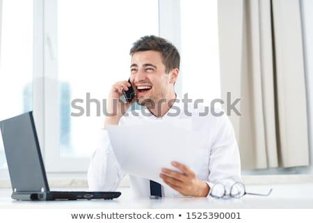 счастливым красивый бизнесмен изолированный белый бизнеса Сток-фото © ssuaphoto