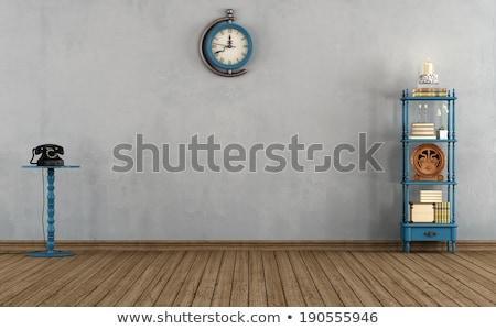 комнату книжные полки Vintage телефон иллюстрация стены Сток-фото © bluering