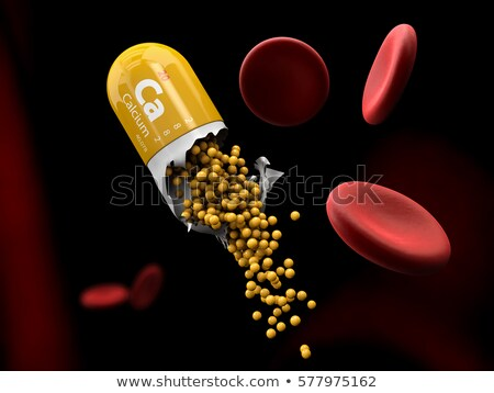 Illustration of Calcium mineral Capsule dissolves in the stomach stock photo © tussik