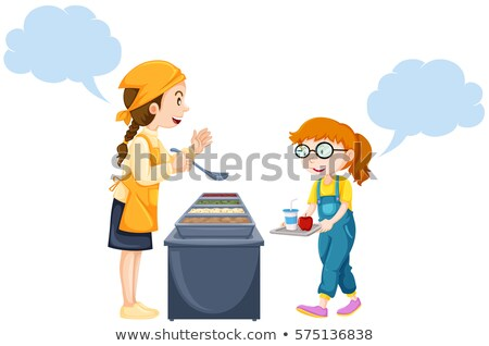 Girl getting food from woman in canteen Stock photo © bluering