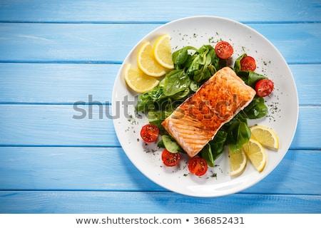 Сток-фото: гриль · рыбы · овощей · пластина · иллюстрация · продовольствие