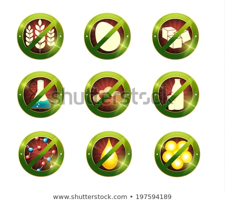 Food intolerance signs. Signs for food which not contain specifi Stock photo © Tefi