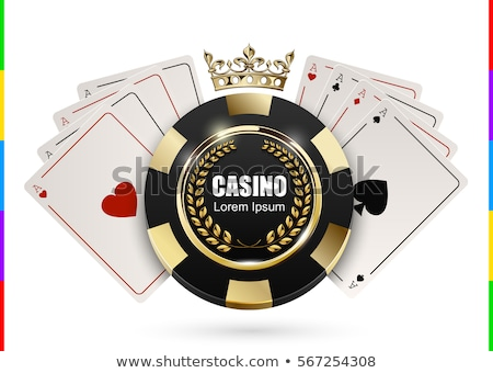 VIP poker luxury white and golden chip vector. Royal poker club casino emblem crown, laurel wreath Stock photo © Iaroslava