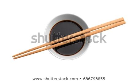 Soya sosu cam çanak tablo arka plan kırmızı Stok fotoğraf © tycoon