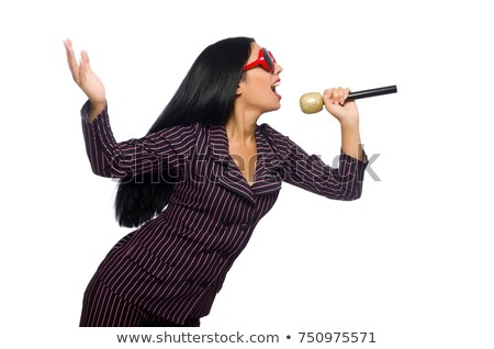 woman singing in karaoke club isolated on whie stock photo © elnur