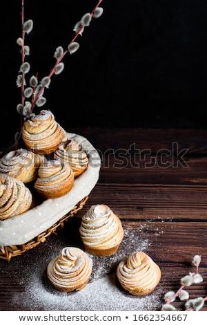Bread on dark wooden table at bakery Stock photo © deandrobot