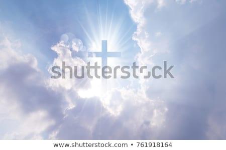 Kreuz Himmel weiß Holz blauer Himmel Rendering Stock foto © Oakozhan