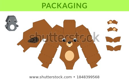 Stock photo: Line paper template with beaver