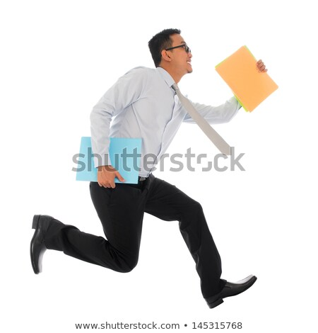Délkelet ázsiai üzletember ugrik egészalakos vonzó Stock fotó © szefei
