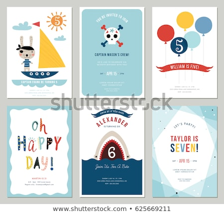 Pirate Kids Birthday Party Invite Template Stock photo © Krisdog