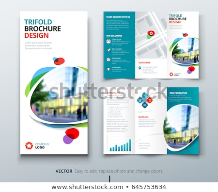 corporate tri fold brochure design with blue abstract shapes Stock photo © SArts