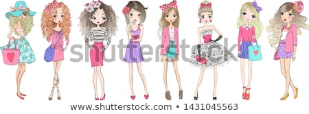 Young happy lady fashion illustrator drawing Stock photo © deandrobot
