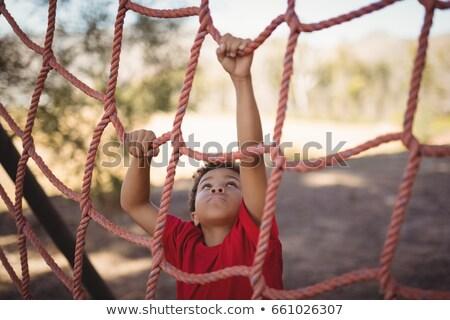 menino · escalada · com · treinamento · bota - foto stock © wavebreak_media