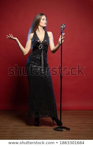Diwa śpiewu piosenka kobieta podpisania Zdjęcia stock © julenochek