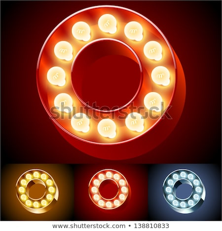 Letter O lamp glowing font. Vintage light bulb alphabet. Retro A Stock photo © popaukropa