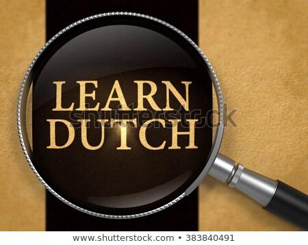 学ぶ オランダ語 レンズ 古い紙 黒 垂直 ストックフォト © tashatuvango