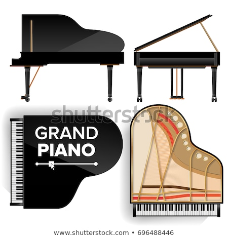 Black Grand Piano Icon Vector With Shadow. Realistic Keyboard. Isolated Illustration. stock photo © pikepicture