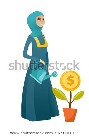 kadın · para · çiçek · iş · kadını - stok fotoğraf © rastudio